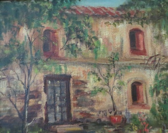 Vintage California Mission / Oil Painting /signed Mamye Lea / Highland Art Guild