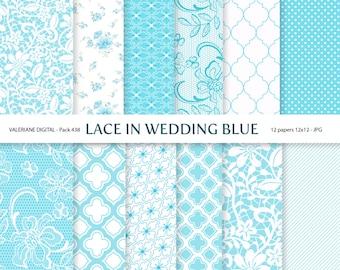 Wedding Digital paper pack, Wedding blue, lace, digital papers, digital backgrounds - Pack 438