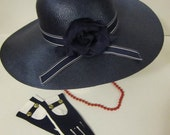 Pure Vintage Navy Hat, Gloves, & Red Beads, circa 1960 aprox