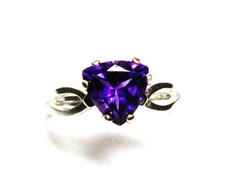 "Amethyst, amethyst ring, birthstone ring, solitaire ring, purple ring, purple, s 7  ""Mardi Gras"""