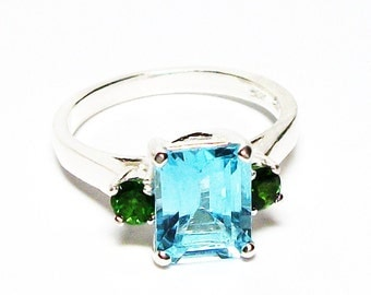 "Topaz, blue topaz ring, topaz accent ring, blue and green, 3 stone ring, anniversary ring, s 6 1/2  ""Blue Nostalgia"""