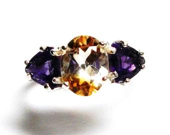 "Citrine ring, Bi colored citrine, amethyst ring, 3 stone ring, orange purple, anniversary ring, s 6 3/4  ""Between the lines"""