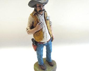 Cowboy Sheriff Statue Figurine Dan Day Texas Artist 1982 Hand Crafted Law Man