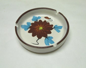 Stoneware Ashtray 1970's Brown Blue Flower