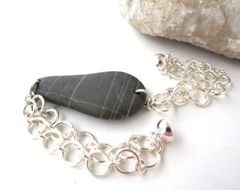 Stone Bracelet Beach Stone Jewelry River Stone Bracelet Mediterranean Natural Stone Bracelet Rock Pebble Bracelet Silver Black BLOBE