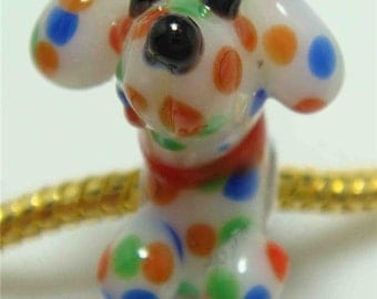 LAMPWORK Murano Glass SPoTTED DoG CHARM Very Detailed Puppy Bead Bracelet Gift Jewelry Pet Animal
