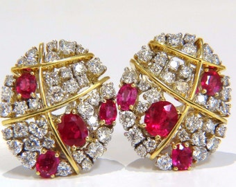 4.52ct Natural Vivid Red Ruby Diamond Oval Cluster Clip Earrings 18KT