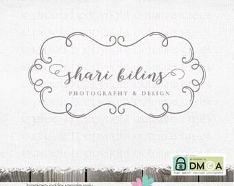 Photography Logo - Premade Logo - Swirly Frame Logo for photographer - Watermark Design - Hand drawn swirl logo design wedding logo design