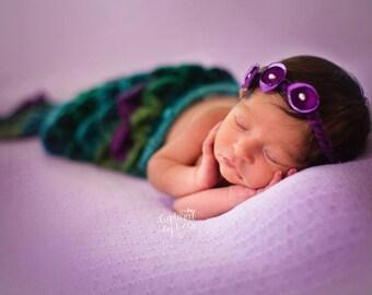 Mermaid Cape and Headband Set / Newborn Prop/ COMPLIMENTARY SHIPPING