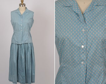 1950s cotton/ 50s Liberty of London skirt and blouse set/ small