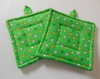 Pair Of Green Polka Dot Fabric Potholders, Set Of Two Quilted Potholders