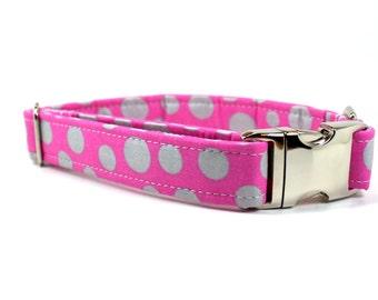 Girl Dog Collar | Pink Dog Collar with Metal Side Release Buckle | Female Dog Collar | Summer Dog Collar