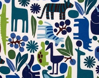 2D Zoo pool by Alexander Henry Fabric - Blue/Green