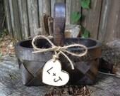 Burlap Flower Girl Basket Rustic Farmhouse Country Chic Wedding
