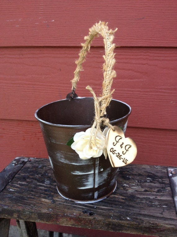 Flower Girl Basket Alternative Distressed Personalized Tin Bucket Rustic Woodland Outdoor Country Chic Wedding