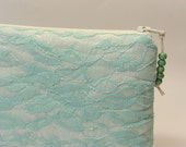 Mint Lace Wedding Clutch, Bridesmaid Gift Bag, Modern Evening Clutch Purse, Holiday Gift for Sister