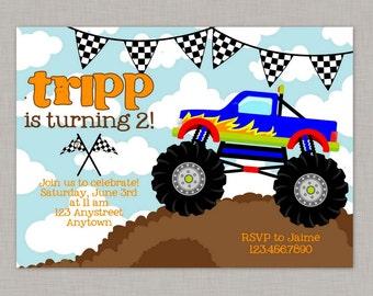 Monster Truck Invitation, Monster Truck Birthday, Monster Truck Party, Printable