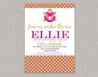 Turtle Invitation, Turtle Birthday Invitation, Under the Sea Birthday
