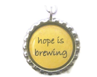 "Tea Infuser with bottlecap Charm - 2"" Mesh Ball - hope is brewing"