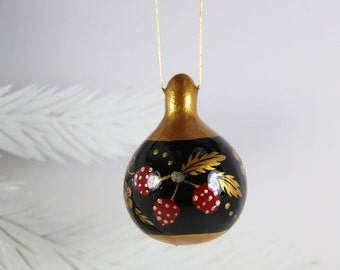 Gourd Ornament 340, Russian Khokhloma Folk Art Inspired, Hand Painted Mini Gourd, Red Black Gold, Holiday Art Gift, Christmas Tree Ornament