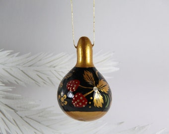 Gourd Ornament 345, Russian Khokhloma Folk Art Inspired, Hand Painted Mini Gourd, Red Black Gold, Holiday Art Gift, Christmas Tree Ornament