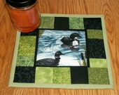 Mug Rug Candle Mat Quilted Loons Lodge Cabin Decor Green Black