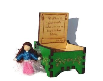 Tooth Fairy Box with Fairy doll - Wooden Fairy Keepsake Box - Small Wooden Jewelry Box - Trinket Box - Handmade Green