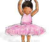 Children's Art, Nursery Art - African American Ballerina, 8x10 Print