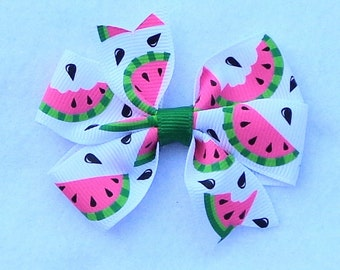 "Basic Hair Bows, Watermelon Hair Bow, Hair Bow with Watermelons, Simple Bow,  3"" Hair Bow, Small Hair Bow, PINK Hair Bow, Small Boutique Bow"