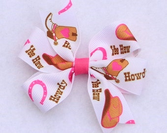 Pink Western Hair Bow, Pink Cowgirl Bow, 4-H Hair Bows, Small Pinwheel Bow, Country Girl Hair Bow, Western Hair Bow, Farm Themed Hair Bow