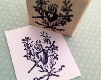 Flaming  Heart Sacred Heart With Sword Rubber Stamp