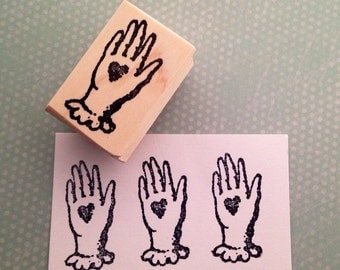 Heart in Hand  Mounted Rubber Stamp 6457
