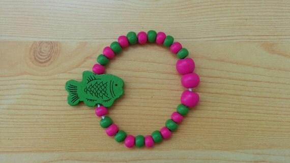 Girl bracelet, children bracelet, kids bracelet,fish bracelet,wood bracelet,beaded bracelet,kids jewelry,girl jewelry,wooden bracelet