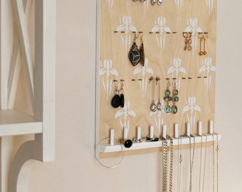 Jewelry Organizer. Hanging Jewelry Holder. Earring holder. Bracelet, necklace hanger. Earring display.Hand painted.