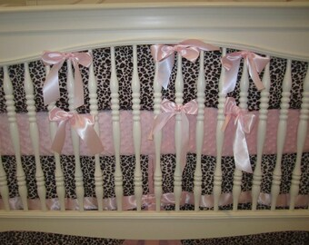 Pink Leopard Baby Bumper-Baby Bedding-Ready to Ship!