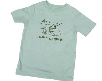 Eco Friendly Children Happy Camper Organic Sage Green 2T 4T or 6T Short Sleeve shirt- hand-drawn and printed Tent,  campfire and s'mores