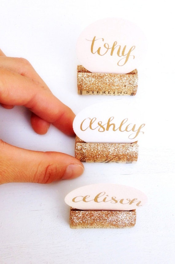 glitter wine cork place card holder for by
