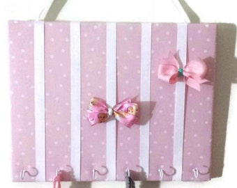 Hair Bow Holder Small-Medium-Large Pink / White Polka Dot Padded Hair Bow Organizer with Hooks for Headbands