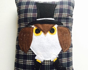 Owl Pillow - Owl Decor - Cute Owls - Novelty Pillows - Blue Plaid Fabric - Owl Lover Gifts - Blue Pillow