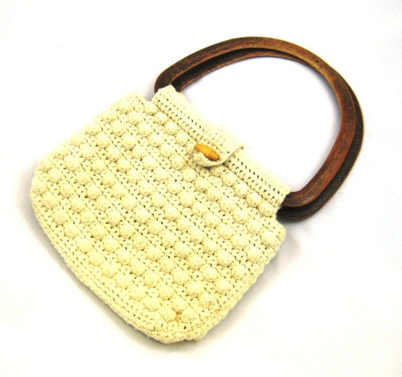 Crochet Purse Round Handle Purse Boho Purse 1960s Popcorn Crochet Bag ...
