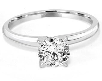Diamond Engagement Ring, Solitaire Diamond Engagement Ring, Certified Diamond Engagement Ring 1CT VS IGI Certified Diamond 14K White Gold