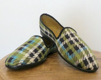 Vintage 60s NOS Leisure Treads Plaid Slippers House Shoes Canadian Size 3-4