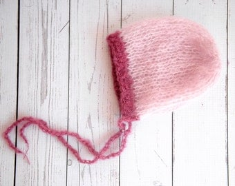 RTS, Fuzzy alpaca silk light pink bonnet with contrasting heather dark pink brim baby girl photography prop - ready to ship