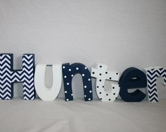 Boy nursery decor, Custom letters, Blue and white decor, 6 letter set,  Nursery letters, Baby wood letters, Baby name sign, Wood decor