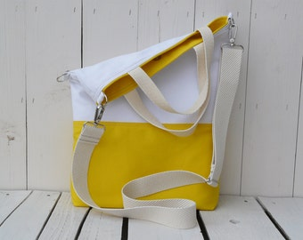 vegan canvas tote bag, summer yellow and white shoulder bag, foldover crossbody messenger, wife laptop carrier, birthday gift son daughter