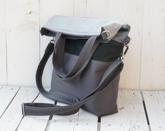 Canvas Messenger Tote Bag, Grey Striped Cross Body Bag, Backpack Option, Unisex Laptop Bag, Convertible Bag, Birthday Gift