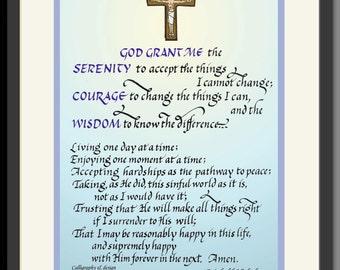 Serenity Prayer by R. Niehbuhr, full length, hand-lettered by Jacqueline Shuler