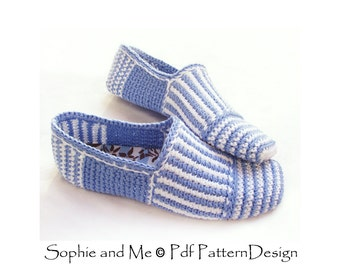 Canvas Striped Slippers/Espadrilles - Crochet Pattern - Istant Download