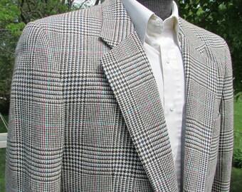 Vintage Mens Plaid Jacket Summer Weight Silk And Wool Tweed Blazer Like Weave Colors Multi Greys Blacks Blue Size 38 Reg