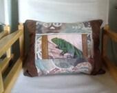 Southwest - Lizard - Original Art Transfer- One of a kind- Quilted Pillow